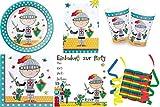 JT-Lizenzen Tapferer Ritter 48-teiliges Kinder Geburtstag Party Deko Set Motto Fete Feier 8 Teller, 8 Becher, 20 Servietten, Tischdecke, 8 Einladungskarten, 3 Rollen Luftschlangen