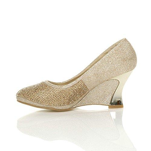 Femmes haute arrondie talon compensées moyen chaussures escarpins pointure Or