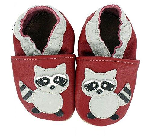 HOBEA-Germany Krabbelschuhe in verschiedenen Farben und Designs mit Tieren , Schuhgröße:20/21 (12-18 Monate);Modell Schuhe:Waschbär