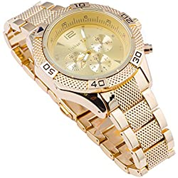 Techno Trend Men's Gold Plated Click Rotate Bezel Japanese Quartz Movement Hip Hop Bling Chunky Watch