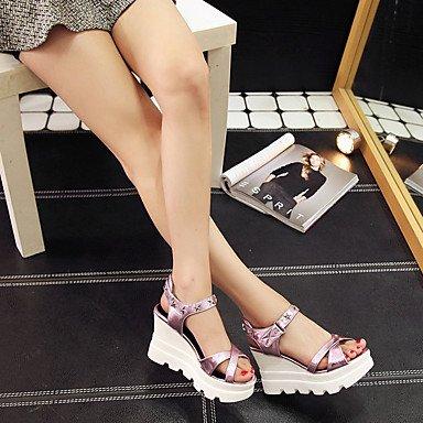 CatThief Damen Sandalen Komfort PU Sommer Outddor Walking Schnalle Creepers Silber Grau Purpur 2,5 - 4,5 cm Purple