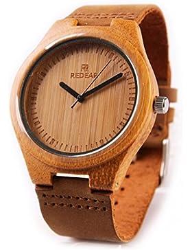 Redear Leder Damen Quarz Armbanduhr massive Naturholz Quarzuhr Uhr handgefertigt Nat¨¹rlicher Bambus Holzuhr Watch