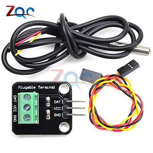 DS18B20 digitales WasserDichtes Temperatur Sensor Modul Kit Edelstahl-Sonde für Arduino plugable Terminal Adapter 100CM Kabel -
