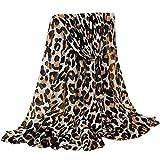 GreatestPAK Damen Baumwolle Leinen Klassischer Leopard Schal,A