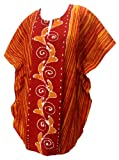 LA LEELA Boho Women Cotton Hand Batik Tunic Caftan Kimono Oversized Short Midi Loungewear Holiday Nightwear Everyday Beach Cover UP Plus Size Kaftan Orange_K233