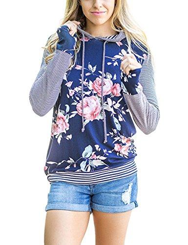 Ocamo Women Floral Print Striped Pullover Long Sleeve Hoodie Hooded Sweatshirt Blue L