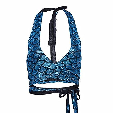YiZYiF Damen Bikini Oberteile Meerjungfrau Fisch Skala Hologram Stretch Weiches Vest Wetlook Bustier Bra Bh Clubwear Gogo Kostüm Blau 1 One
