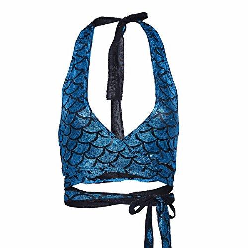 YiZYiF Damen Bikini Oberteile Meerjungfrau Fisch Skala Hologram Stretch Weiches Vest Wetlook Bustier Bra Bh Clubwear Gogo Kostüm Blau 1 One Size