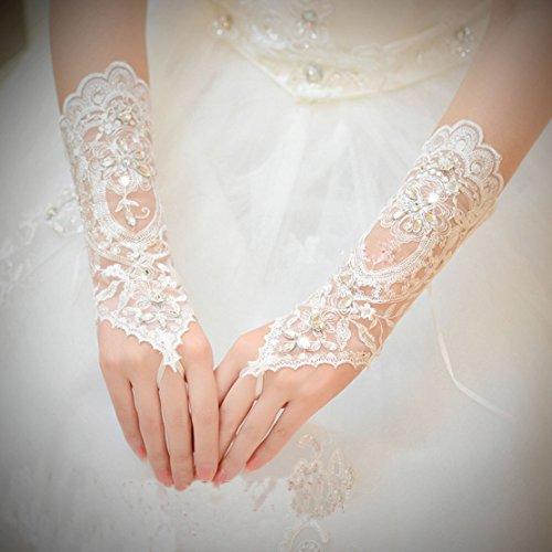 Unbekannt Brauthandschuhe fingerlos Braut Handschuhe Strass Steinchen Hochzeit Weiß Ivory (Ivory) - 2
