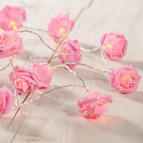 HANGQI 20-LED rosa Rose Blume batteriebetriebene Fairy String Licht Weihnachten Hochzeit Dekor (warmweiß)