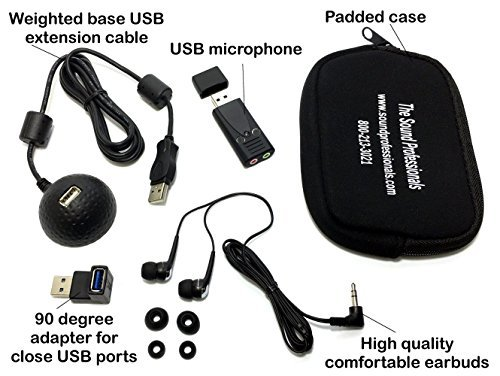 Sound Professionals - USB-MIC-MODEL-6 and accessory kit bundle - includes SP-USB-DOCK-BALL SP-USB-FLEX-4 SP-EARBUDS-5 and SP-NEOPRENE-POUCH