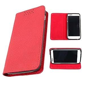 DooDa PU Leather Flip Case Cover For Karbonn S5 Titanium (Red)