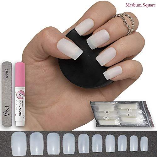 100 Pezzi Quadrato Unghie 10 Misure - Corto / Medio Unghie per Salone Uso & DIY Nail Art senza Colla & Piccolo Preparazione File