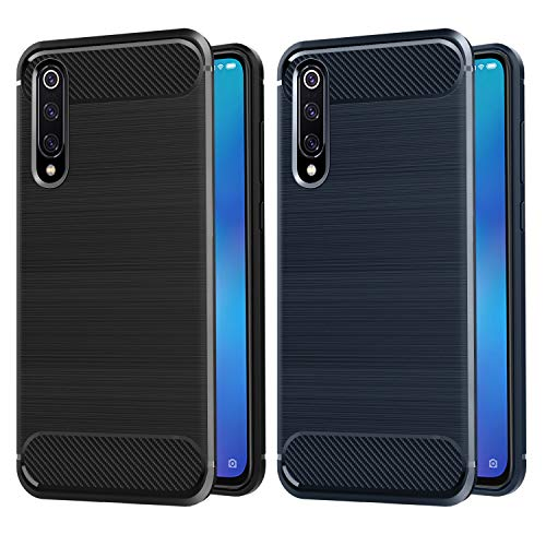 VGUARD [2 Pack Cover for Xiaomi Mi 9 SE, [Carbon Fiber] Back Protection Soft TPU Case Cover for Xiaomi Mi 9 SE (Black + Blue)