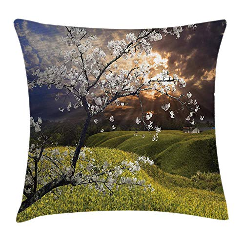 Cherry-gewebe-sofa (Dekokissen KissenbezugJapaner Sakura Cherry Blossom Tree auf dem Tal-asiatischen östlichen ländlichen Land-Lebensraum-Druck Pillow Cushion Cover Pillowcase,45x45 cm)