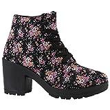 Damen Schnürpumps Schnürstiefeletten Stoff Ankle Boots Stiefeletten Schnürer Sportliche Pumps Schuhe 142097 Schwarz Blumen 40 | Flandell®