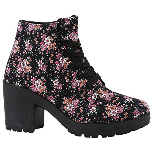 Stiefelparadies Damen Schnürpumps Schnürstiefeletten Stoff Ankle Boots Stiefeletten Schnürer Sportliche Pumps Schuhe 142097 Schwarz Blumen 36 Flandell