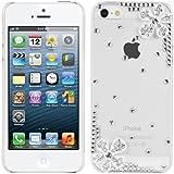 kwmobile Hardcase Glitzer Hülle für Apple iPhone SE / 5 / 5S in Blume Strass Ecke Design - Strassstein Backcover Case Schutzhülle in Silber Transparent