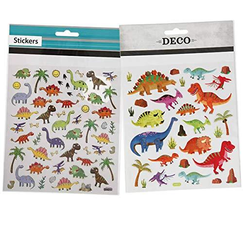YooKreativ Dinosaurier Sticker Set, 2 Blätter, Deko Sticker Dinosaurier, Sticker Dino, Sticker Dinosaurier Kinder