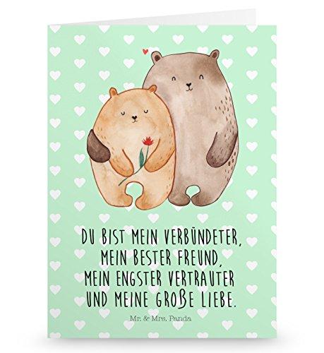 Mr. & Mrs. Panda Grußkarte Bären Liebe - 100% handmade in Norddeutschland - Verlobt, Pappe, Verheiratet, Bärchen, Karte, Freund, Geschenk Freund, Freundin, Karton, Einladungskarte, Verlobung, Bären (Pappas Geschenk-karte)
