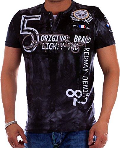 T-Shirt Herren mit Knopfleiste | verwaschene Tshirts für Männer | Herrenshirt Kurzarm mit gestickten Details | sportliche Männer Sommer Shirts | 5 Camp Royal Slim Fit 2601 Schwarz 2601