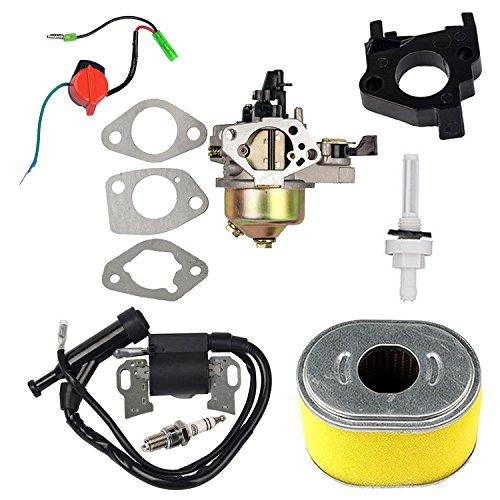 Oxoxo Carburateur Bobine d'allumage filtre à air Bougie d'allumage Jonit filtre Interrupteur marche/arrêt pour Honda Gx240GX2708HP 9hp Moteur tondeuse à gazon Motoculteur pièces