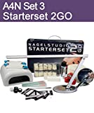 Aktive4Nails Nagestudio Starterset 2Go Nr. 3 Gelset, Fingernagel Set, Gelnagel Set, Set für die Fingernagel Modellage + Arbeitstisch Lampe
