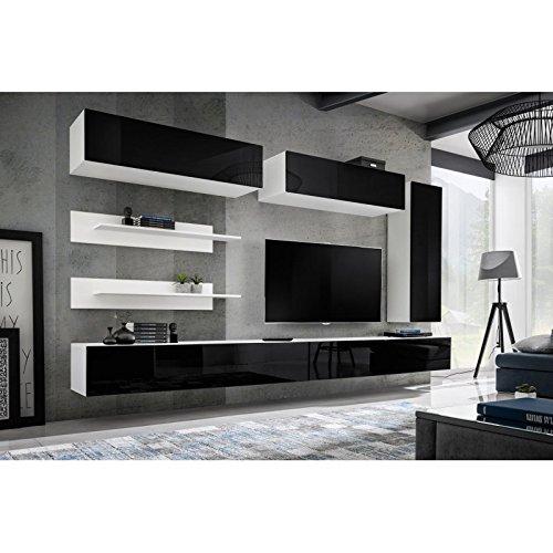 Paris Prix - Meuble TV Mural Design Fly XV 320cm Noir & Blanc