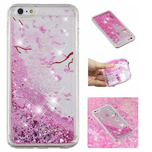 Shinyzone Glitzer Flüssigkeit Hülle für iPhone 5S/iPhone SE/iPhone 5,Kirschblüte kreativ 3D Gemalt Muster Handyhülle,Bling Treibsand Liebe Herz Fließend Weich TPU Schutzhülle