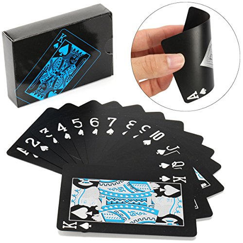Waterproof Poker Game 54 PVC Playing Cards Black, Funny Poker Game Table Game Card game Party Game Board Game Cards Game for Family and Friends (1 Pack)