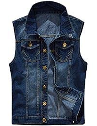 Homme Veste Jeans Blouson Veste en Denim sans Manche Gilet Jean Cowboy#2206