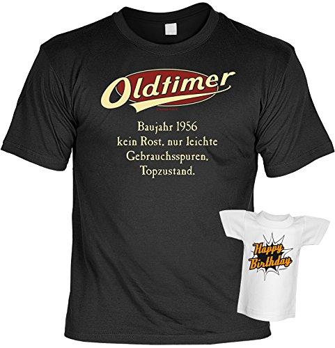 Geburtstags-Jahrgangs-Fun-Shirt-Set inkl. Mini-Shirt/Flaschendeko: Oldtimer Baujahr 1956 - geniales Geschenk Schwarz