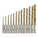 MINHER 13pcs HSS Spiralbohrer Set mit Sechskantschaft Satz Bohrersatz Holz Holzbohrer Micro Bohrer Bithalter Drill Bit 1.5-6.5mm