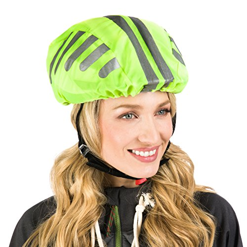 Hochwertiger Helmüberzug für den Fahrradhelm - mit Protecticure 360° Rund-Um-Reflektoren - Wasserdichter Fahrrad Regenüberzug - Unisex Helmregenüberzug Helmschutz...