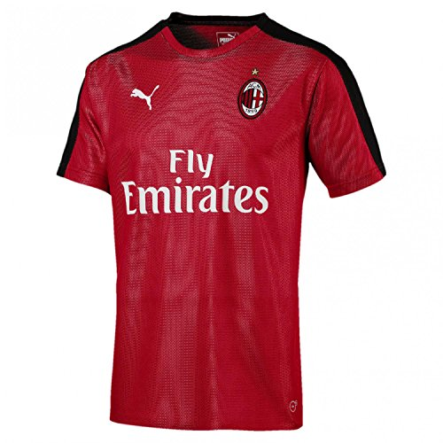 Puma AC Milan Stadium Jersey SS with Sponsor T-Shirt, Hombre, Chili Pepper/Black, XL