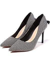 GTVERNH Moda Zapatos de Mujer Pequeño Y Fresco De 10 Cm De Tacon Alto  Zapatos De Hadas Commuter Comprobado Tela Zapatos De Punta Los… f82064dc1caf