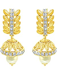 Spargz Party Wear Gold Plating AD Stone Jhumki Earrings For Women AIER 665