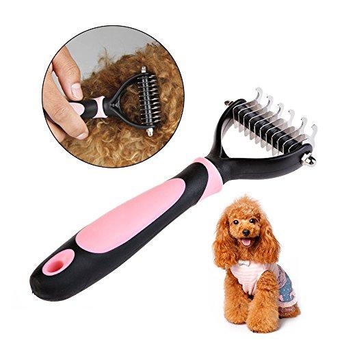Amytech Hundebürste Hundepflege und Katze Fellpflege Bürste Unterwollbürste für Mitte bis Langhaar | (Rosa)