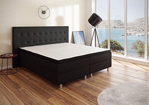 Best For You Boxspringbett 'Neo' First Class Bett Polsterbett in verschiedenen Farben und Größen (Schwarz mit Viscomatratze, 140x200)