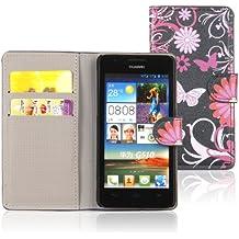 Tinxi - Funda de piel con tapa para Huawei Ascend G510, diseño de flores y mariposas, color negro y rosa