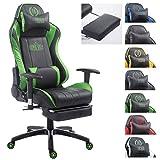 CLP XL Racing Bürostuhl Shift X2 mit Kunstlederbezug l Höhenverstellbarer Drehstuhl mit und ohne Fußstütze l Gamingstuhl mit Laufrollen schwarz/grün, mit Fußablage