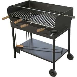 Supagrill Florence Barbecue à Charbon-Double Barbecue Grill en fer forgé-x 2 grilles de Barbecue-Barbecue-Brochettes-Barbecue à charbon avec outils Noir