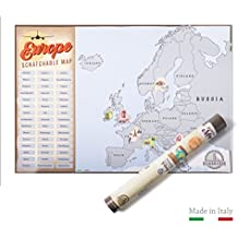 EUROPE  by Benbridge | Mapa de Europa Para Rascar MADE IN ITALY | ¡Rasca los lugares a los que viajes!