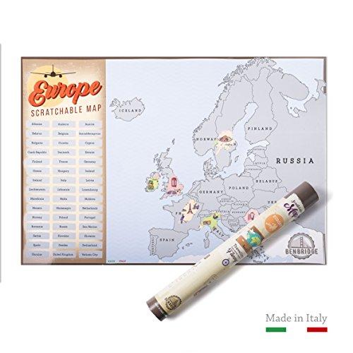 Scratchable map europe benbridge | l'unica mappa da grattare made in italy | mappa dell'europa da grattare | viaggia e gratta via gli stati che hai visitato personalizzando la tua mappa !!