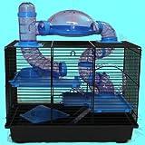 Heimtiercenter Nagerkäfig Hamsterkäfig Mäusekäfig Käfig viele Röhren, Haus, Laufrad Rocky blau