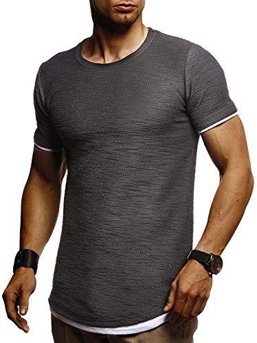 LEIF NELSON Herren Sommer T-Shirt Rundhals-Ausschnitt Slim Fit Baumwolle-Anteil | Moderner Männer T-Shirt Crew Neck Hoodie-Sweatshirt Kurzarm lang | LN8223 Anthrazit X-Large -