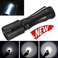 Linterna LED Switchali Q5 5000LM AA / 14500 3Mode ZOOM LED súper Brillante Flash MINI Policía Antorcha para Ciclismo, Camping, Montañismo, Senderismo y las Actividades al aire libre (Negro)