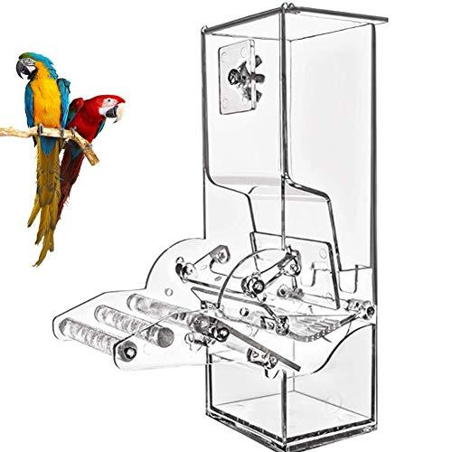 PJDDP Automatische Vogelfutter Feeder Mit Barsch, Papageien Futter Suchen Futtertröge Für Sittich Kanarischen Cockatiel Finch, Keine Zerbrechlichen, Transparent Futterschale Für Vogelkäfig -
