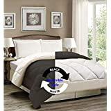 "AVI Newly Design Reversible Style 200 GSM Microfiber AC Comforter/Duvet/Quilt for Single Bed - (60""x 90"") inches, Black & White"