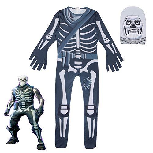 Ndier Halloween Klagen Skeleton Halloween Kostüm Jumpsuits mit Ghost Face für Jungen 140 Schmuck Ghost-jumpsuit